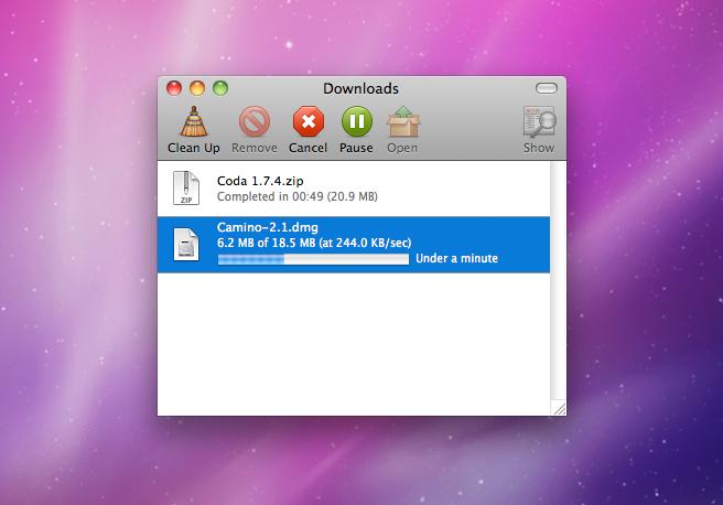 Camino Download Window